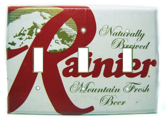 Mt. Rainier Fresh Recycled Triple Light Switch Cover, Beer, Washington, Mountain, White, Red