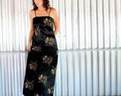 vintage 60s black and metallic gold floral 3D maxi dress