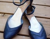 Vintage 70s 80s Navy Blue Candies Heels Flats 8