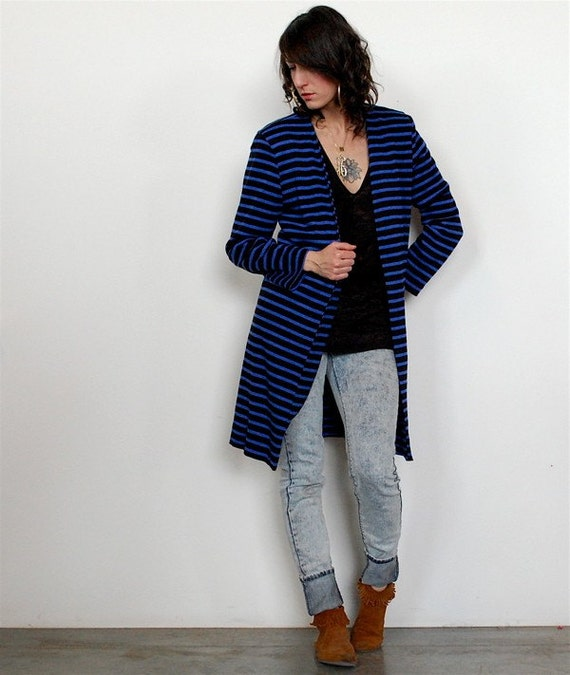 vintage 80s long black and blue striped cardigan