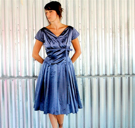 vintage 50s periwinkle BONWIT TELLER satin dress