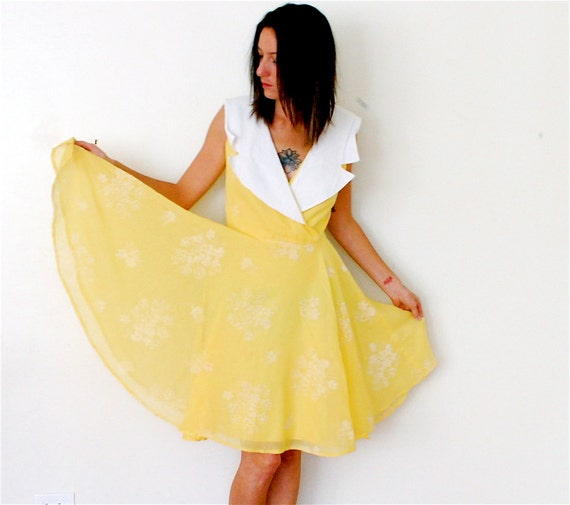vintage canary yellow floral print circle dress