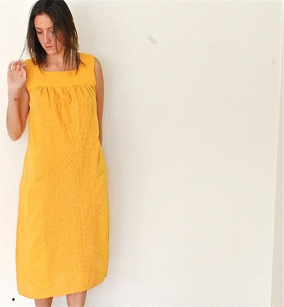vintage 70s embroidered yellow sun dress