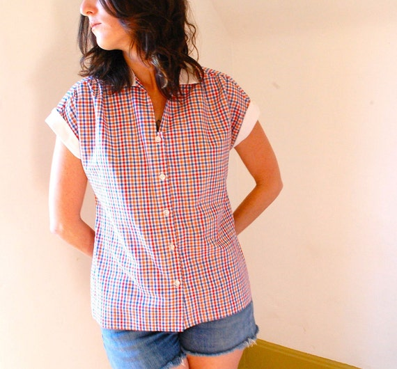 vintage red white and blue checkered blouse