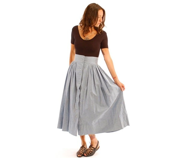 vintage high waist denim prairie skirt