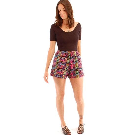 vintage 80s abstract print shorts