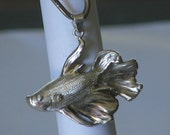 Emo the Even Betta Sterling Silver Siamese Fighting Fish-Betta Pendant w/ engraved scales-Ready to Ship