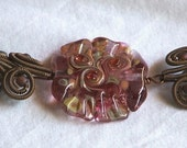Handmade Copper Coils Glass and Lampworked Focal Bead  Bracelet 7 1/2 in