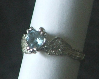 HEARTBEAT Remastered Sterling Silver Angel Fairy Wings With a Sky Blue Topaz Heart-Ready to Ship