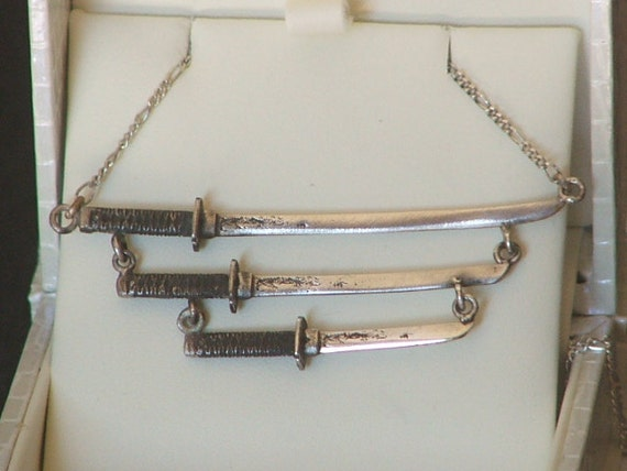 KATANA TRIO- Black Handles Japanese Swords and Dagger Necklace in Sterling Silver -Ready to Ship