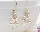 Pearl cluster earrings, white pearl and crystal earrings, swarovski crystal and pearl earrings