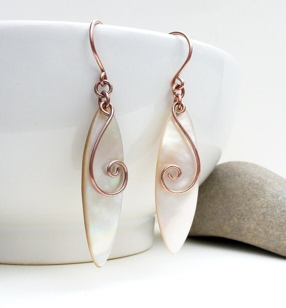 Ivory white earrings, spiral earrings, copper jewelry, mother of pearl earrings, new zealand jewelry