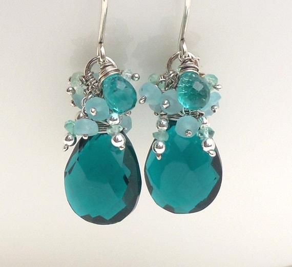 Sterling silver teal earrings, teal quartz earrings, blue green teal briolette earrings, handmade silver jewelry, teal wire wrap earrings