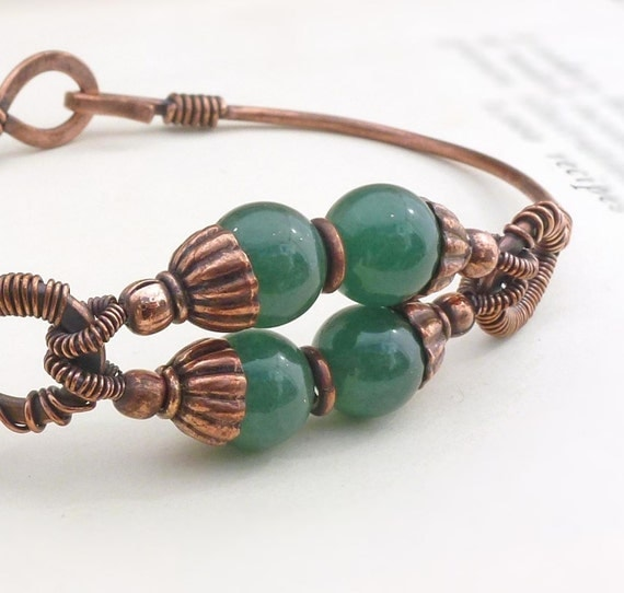 Copper jewelry, copper and dark green adventurine bangle, copper bangle