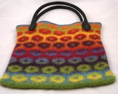 Knitted and felted poppy multicolor bag.