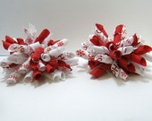 2 PETITE KORKER BOWS - Red and White HO HO HO
