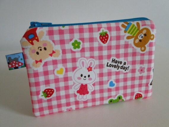 Free shipping - Small Zipper Pouch - Cute Japanese Kawaii Animal print