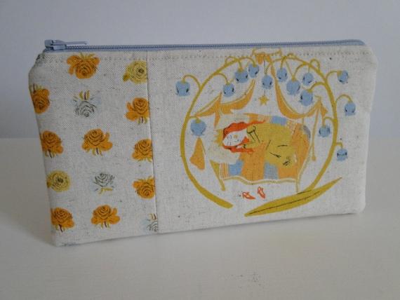 Free shipping - Medium Zipper Pouch - Sleeping beauty - Far Far Away by Heather Ross for Kokka