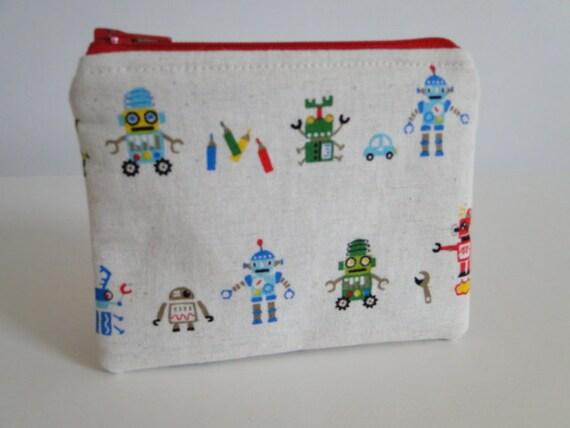 Free shipping - Mini zipper pouch or change purse - Robots - Japanese print
