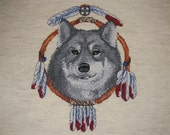 Dream Catcher Wolf Completed Cross Stitch Art