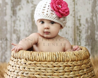 Newborn Girl Hat,  Baby Girl Hat, Flower Hat, Crochet Knit Baby Hat, Photo Prop