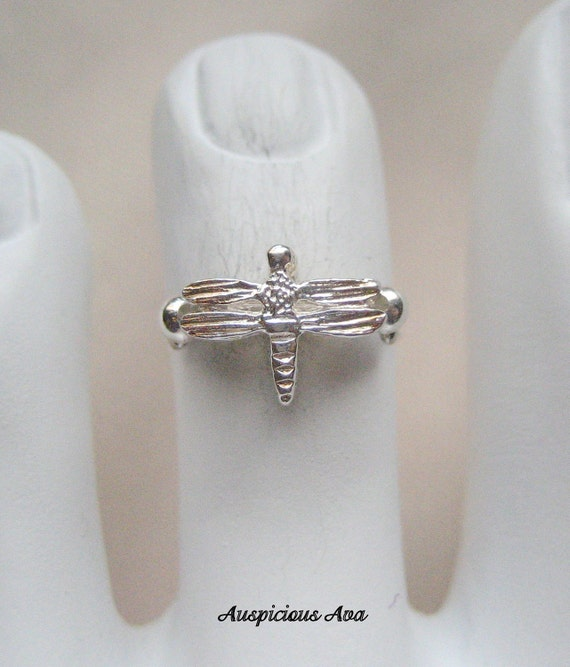 Sharon - Sterling Silver  Dragonfly Stretch Illusion Toe Ring