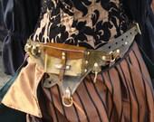 Steampunk Utility Leather Belt Green