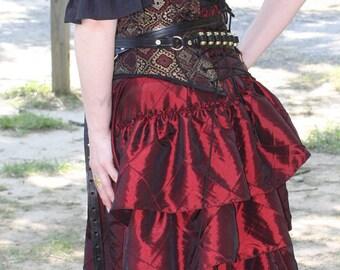Deep Red Complete Outfit Over Bust Corset, Bustle Skirt, Black Short Sleeve Shirt