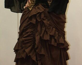 Dark Brown Saloon Girl Skirt