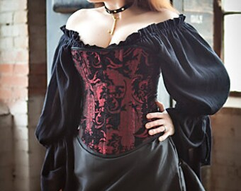 Red and Black Victorian Steampunk Corset