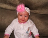 light pink fur flower  headband ... see shop for more clearance items..