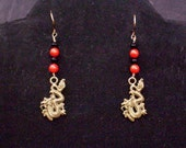 Dragon Earrings with Coral on Brass
