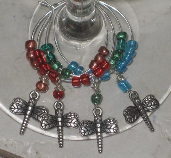 we re just hanging dragonfly wine charms