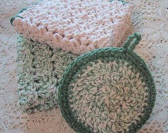 Country Kitchen Set 3 Piece - Dish Cloths and Veggie Scrubber - Handmade Crocheted Cotton Yarn - Natural Ecru & Sage Colors - eco friendly