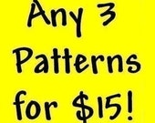 3 Crochet Patterns for 15 dollars, many styles available.. baby booties, crocs, hats, shrugs, accessories, amigurumi ....more