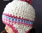 INSTANT DOWNLOAD Crochet Pattern PDF 113 - Aleshia Pom-Pom Earflap Hat- All sizes from newborn to adult included