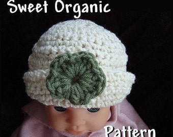 INSTANT DOWNLOAD Crochet Pattern PDF 46, Sweet Organic Baby Hat with Rolled Brim-Make sizes newborn to age 5