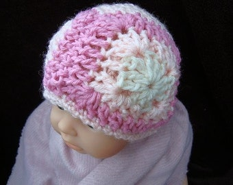 INSTANT DOWNLOAD Crochet Pattern PDF 47 - Little Granny Squares Baby Hat  newborn to size 5