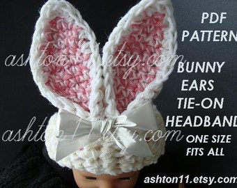 INSTANT DOWNLOAD Crochet Pattern PDF.119,-Tie on Headband Bunny Ears- One size fits all