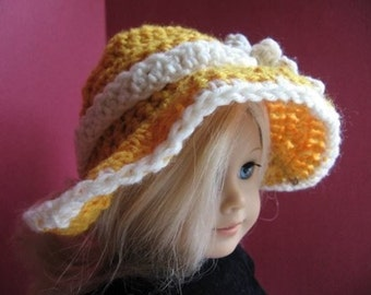 INSTANT DOWNLOAD Crochet Pattern PDF1-American Girl Sunhat