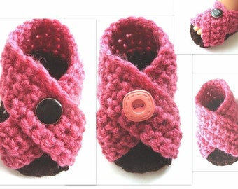 INSTANT DOWNLOAD-Crochet Pattern Baby Booties (PDF 156)  Little Grecian Cross Over Booties Sandals 3 sizes newborn, 3 months, and 6 months