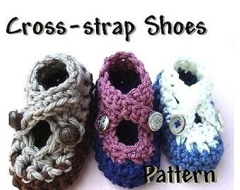 INSTANT DOWNLOAD Crochet Pattern PDF 71-Baby Booties Crochet Pattern Cross Strap Shoes- Ashton11 Crochet Patterns