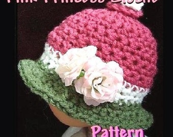 INSTANT DOWNLOAD Crochet Pattern PDF 25-Pink Princess Baby Cloche Hat- sizes newborn to age 5