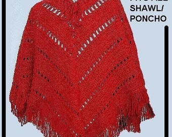 INSTANT DOWNLOAD Crochet Pattern PDF126,  Red Shawl Poncho, make it any size