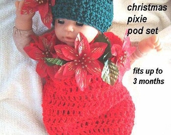 INSTANT DOWNLOAD Crochet Pattern PDF 173- Christmas Pixie  hat and pod fits to 3 months- Ashton11 a one stop shop for a variety of patterns.