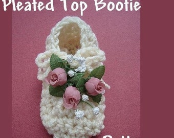 INSTANT DOWNLOAD Crochet Pattern PDF 62 - Pleated Top Bootie make Newborn to 12 months  Easy.
