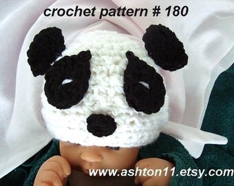 Panda Hat Crochet Pattern PDF 180-Baby Panda Hat-3 sizes newborn to 12 months