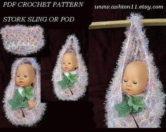 INSTANT DOWNLOAD Crochet Pattern PDF 88, stork pouch or pod cocoon