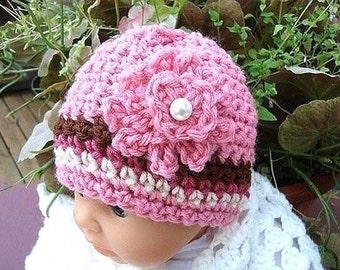 INSTANT DOWNLOAD Crochet Pattern PDF 60- Pleated Top Beanie sizes newborn to adult- Beginner level