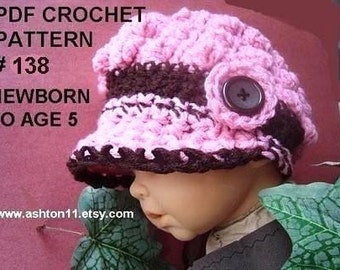 INSTANT DOWNLOAD Crochet Pattern PDF 138- Pink Popcorn Newsboy Hat-Sizes newborn to age 5 permission to sell your finished hats